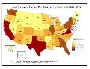 Map: Total Number of Full and Part-Time Federal Workers by State - 2012